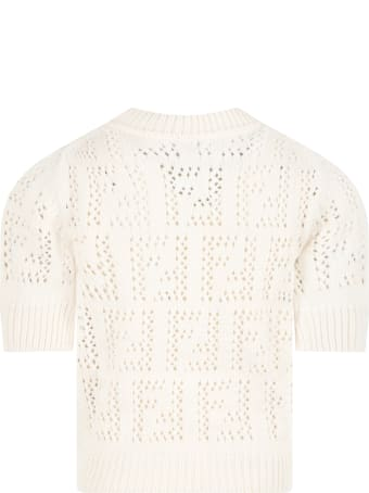 Fendi Ivory Sweater For Kids With Double Ff