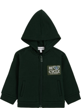 Emporio Armani Green Recycled Cotton Hoodie With Logo