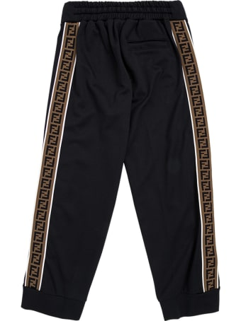 Fendi Cotton Blend Trousers With Ff Side Bands