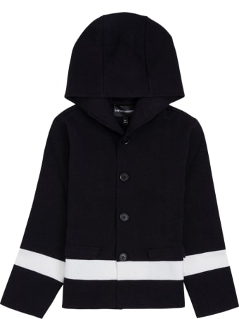 Emporio Armani Blue And White  Wool Blend  Hooded Cardigan
