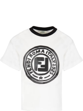Fendi White T-shirt For Kids With Double Ff