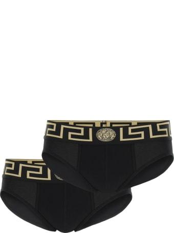 Versace Bi-pack Underwear Greca Border Low Waist Briefs