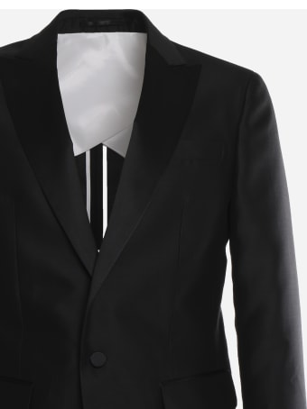 Dsquared2 Black Suit In Silk Blend Wool