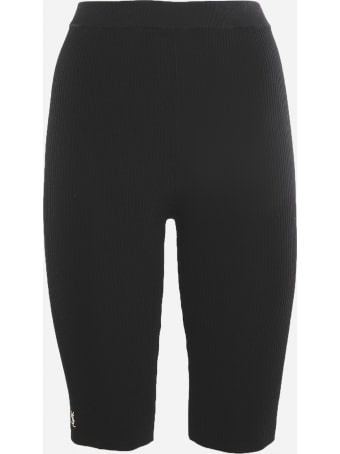 Saint Laurent Cyclist Shorts With Ribbed Workmanship And Logo Detail