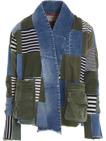 Greg Lauren 'army/denim Striped Scrapwork' Blazer
