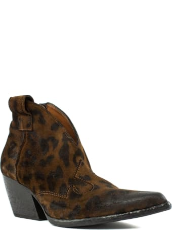 Elena Iachi Texan Ankle Boot In Leopard Leather