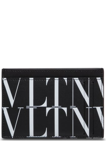 Valentino Garavani Vltn Card Holder In White And Blackleather