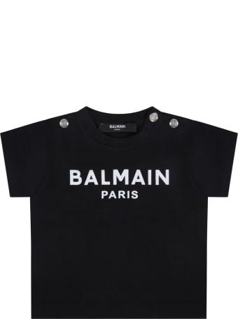 Balmain Black T-shirt For Baby Kids With Logo