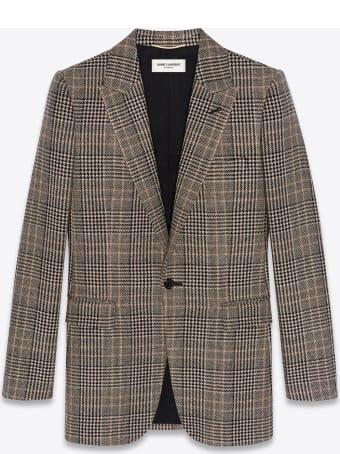 Saint Laurent Single-breasted Jacket In Prince Of Wales Tweed