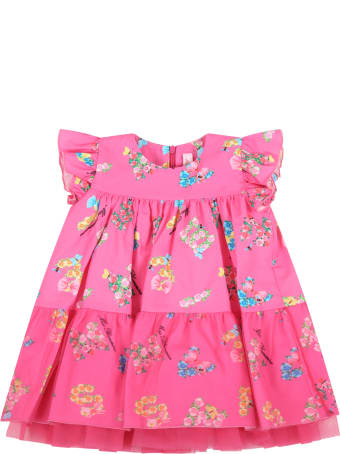 Blumarine Fuchsia Dress For Baby Girl With Logo