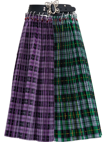 Chopova Lowena Check Split Plaid Pleated Skirt With Belt