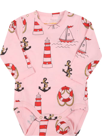 Mini Rodini Pink Body For Baby Girl With Anchors
