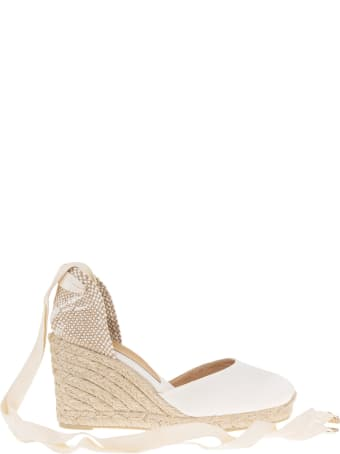 Castañer Carina Espadrille In White Canvas With Wedge