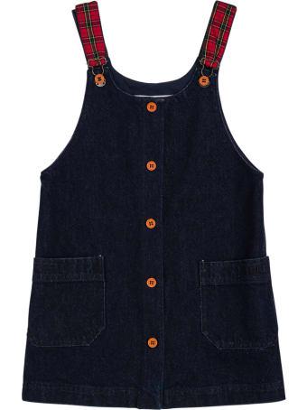Philosophy di Lorenzo Serafini Kids Blue Denim Dress With Check Shoulder Straps