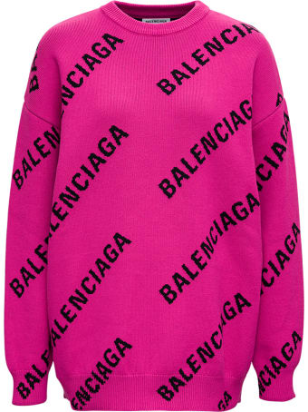 Balenciaga Wool And Cotton Sweater With Allover Logo