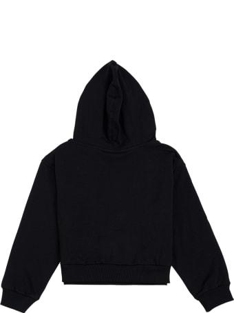 Chiara Ferragni Black Jersey Hoodie With Logo Print
