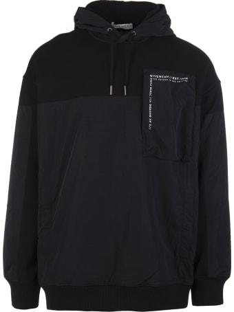 Givenchy Man Black Bimaterial Givenchy Hoodie