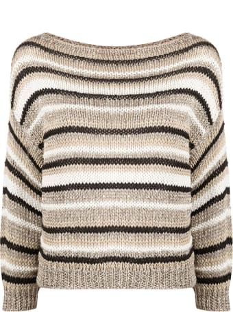 Antonelli Beige Cotton And Linen Blend Jumper