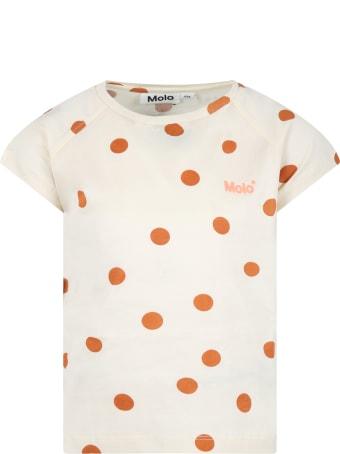 Molo Beige ''rozalia'' T-shirt For Kids With Polka-dots