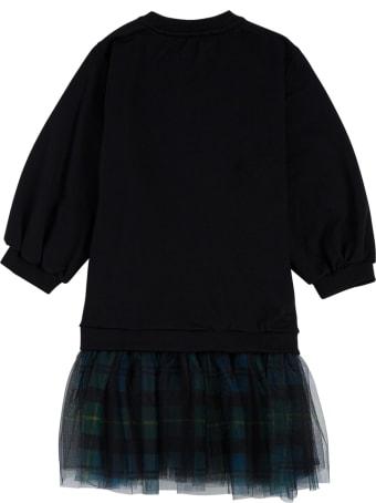 Philosophy di Lorenzo Serafini Kids Black Cotton And Tulle Check Dress With Logo Print