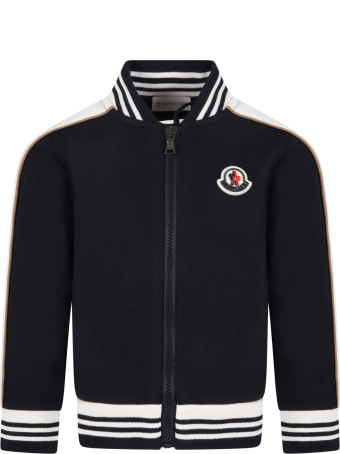 Moncler Blue Tacksuit For Kids With Iconic Patch