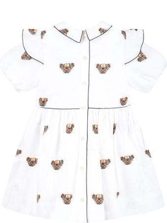 Burberry White Dress For Baby Girl With Thomas Bear