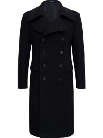 Tagliatore Long Double-breasted Coat In Black Wool