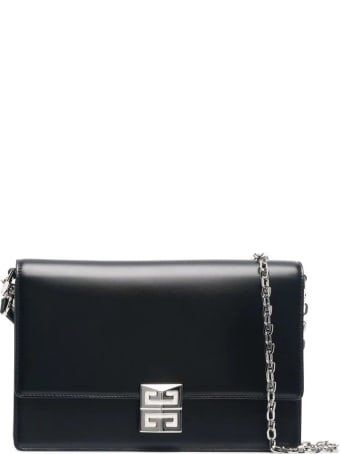 Givenchy Medium 4g Bag In Black Box Leather With Silver Chain