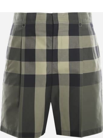 Burberry Cotton Shorts With All-over Tartan Motif