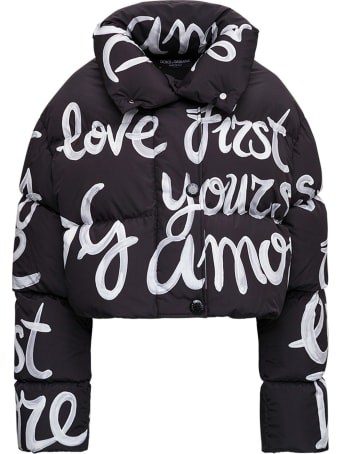 Dolce & Gabbana Short Nylon Down Jacket With Dg Love Yourself Print