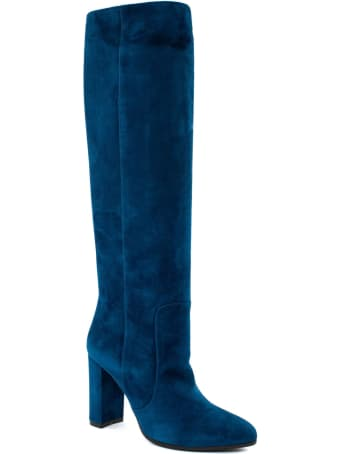 Via Roma 15 High Boot In Blue Suede