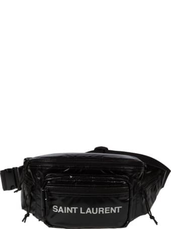 Saint Laurent Logo Print Glossy Belt Bag