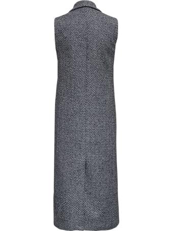 Tonello Sleeveless Grey Long Coat In Herringbone Wool