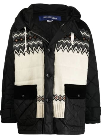 Junya Watanabe Comme Des Garçons Hooded Padded Caban W/knitted Inserts