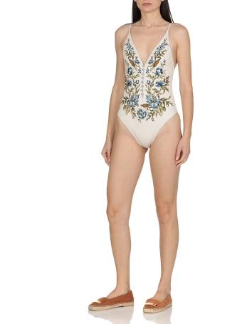 Zimmermann Aliane Button Plunge Swimsuit