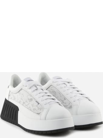 Ruco Line R-dj 399 Sneakers In Leather And Lace