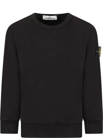 Stone Island Junior Black Sweatshirt For Boy With Iconic Compass