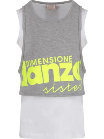 Dimensione Danza Grey And White Tank Top With Logo For Girl