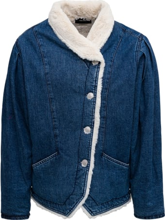 Isabel Marant Sherpa Jacket Pauline In Blue Denim