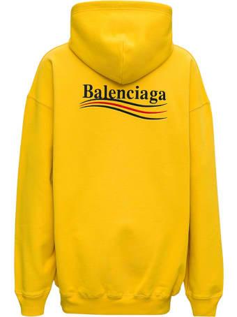 Balenciaga Yellow Cotton Hoodie With Logo