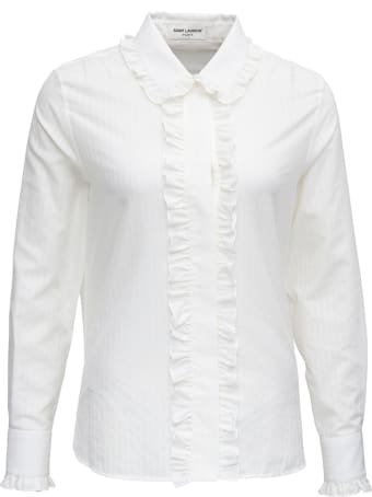 Saint Laurent White Cotton And Silk Shirt With Frills Detail