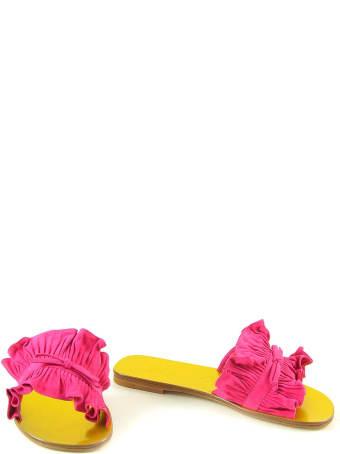 Lanvin Fuchsia Leather Slide Flat Sandals