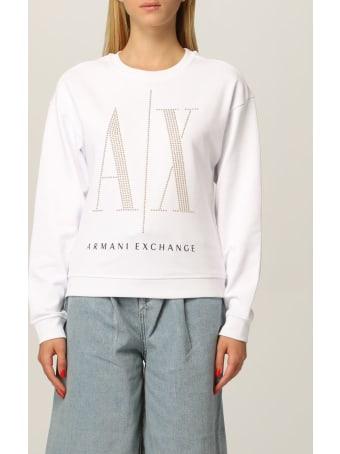 Armani Collezioni Armani Exchange Sweatshirt Logo Icon Studs Crewneck