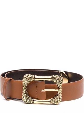 Alberta Ferretti Leather Belt With Gold Colored Buckle