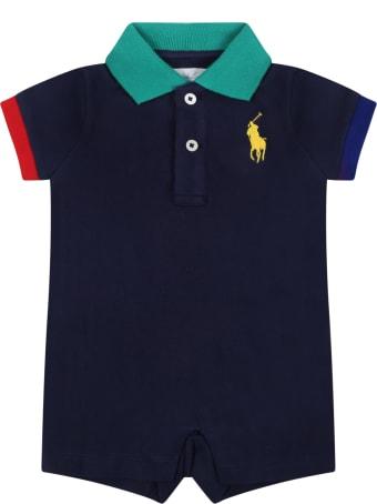 Ralph Lauren Blue Romper For Baby With Pony Logo