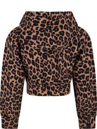 Douuod Brown Sweatshirt For Girl With Animalier Details