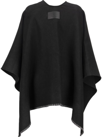 Burberry Solid - Wool Cape With Jacquard Monogram Pattern