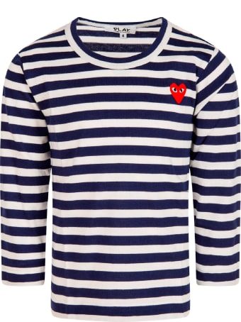 Comme des Garçons Play White And Blue Striped T-shirt With Heart For Kids