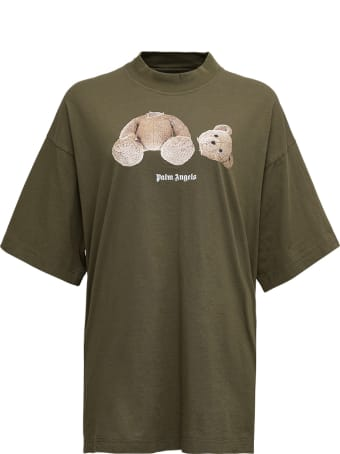 Palm Angels Military Green T-shirt With Front Bear Print