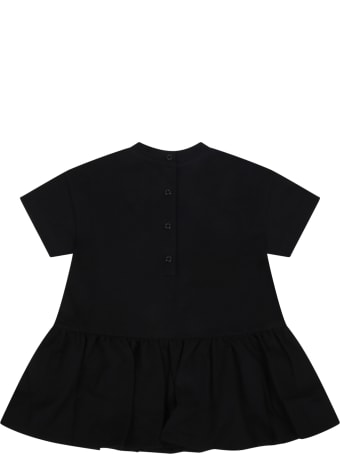 Balmain Black Dress For Babygirl With Logo